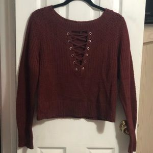 Cropped Red Express Sweater.